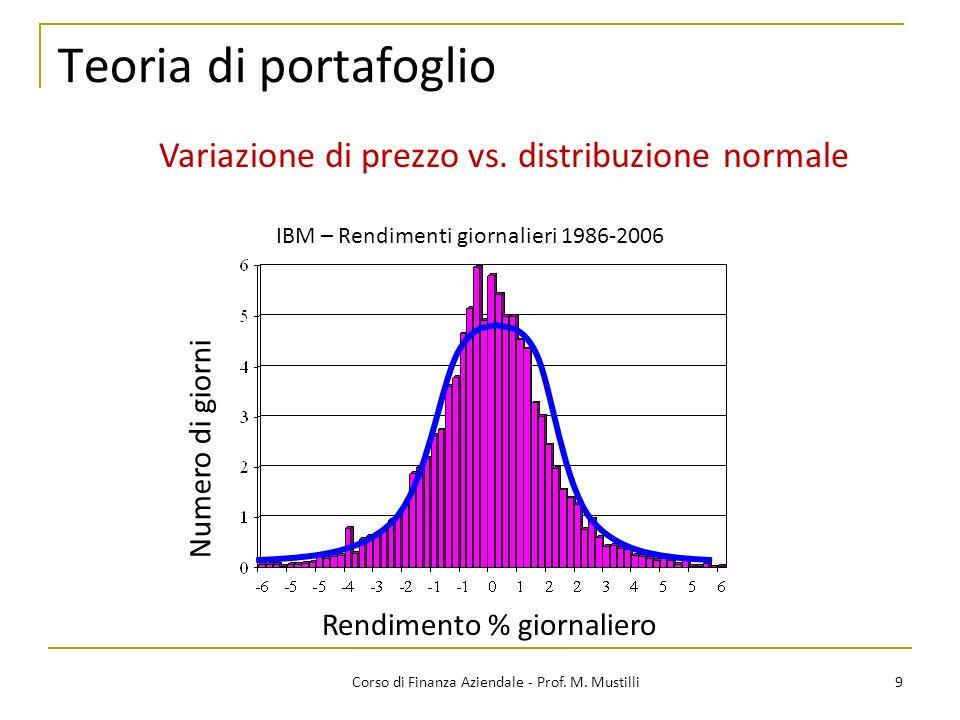 Teoria di portafoglio 9Corso di Finanza Aziendale - Prof.