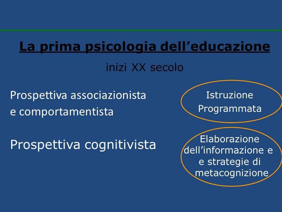 Prospettiva associazionista e comportamentista La prima psicologia delleducazione inizi XX secolo Prospettiva cognitivista Istruzione Programmata Elab