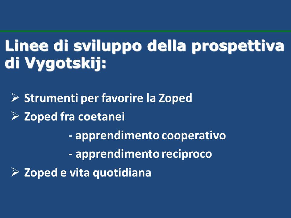Strumenti per favorire la Zoped Zoped fra coetanei - apprendimento cooperativo - apprendimento reciproco Zoped e vita quotidiana Linee di sviluppo del