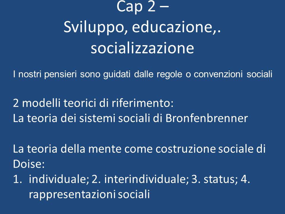 2 modelli teorici di riferimento: La teoria dei sistemi sociali di Bronfenbrenner La teoria della mente come costruzione sociale di Doise: 1.individua
