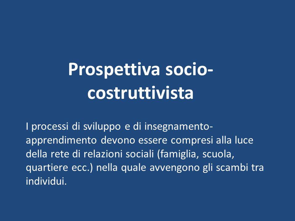 Prospettiva socio- costruttivista I processi di sviluppo e di insegnamento- apprendimento devono essere compresi alla luce della rete di relazioni soc