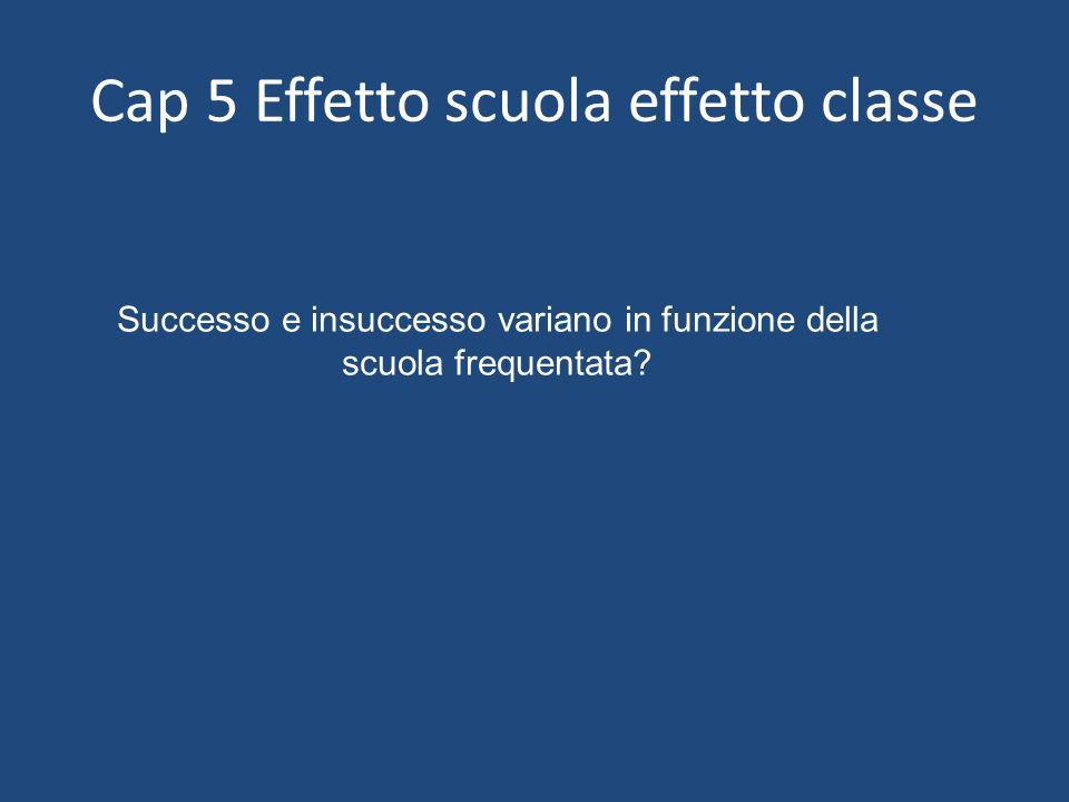Cap 5 Effetto scuola effetto classe Successo e insuccesso variano in funzione della scuola frequentata?