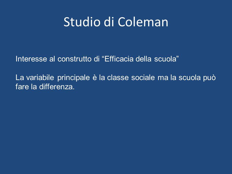 Studio di Coleman Interesse al construtto di Efficacia della scuola La variabile principale è la classe sociale ma la scuola può fare la differenza.