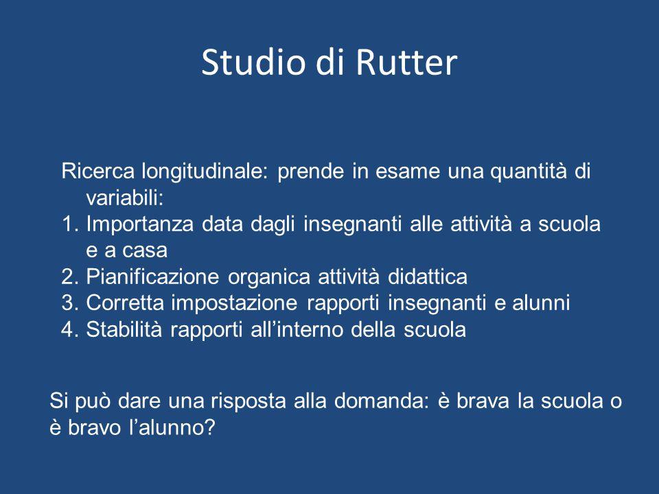 Studio di Rutter Ricerca longitudinale: prende in esame una quantità di variabili: 1.Importanza data dagli insegnanti alle attività a scuola e a casa