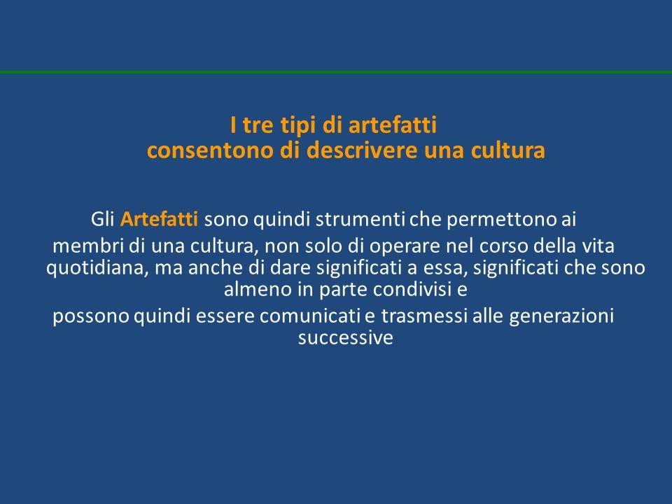 I tre tipi di artefatti consentono di descrivere una cultura Gli Artefatti sono quindi strumenti che permettono ai membri di una cultura, non solo di