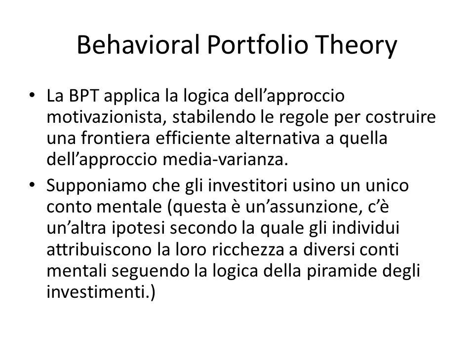 Behavioral Portfolio Theory La BPT applica la logica dellapproccio motivazionista, stabilendo le regole per costruire una frontiera efficiente alterna