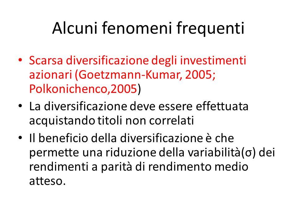 Alcuni fenomeni frequenti Scarsa diversificazione degli investimenti azionari (Goetzmann-Kumar, 2005; Polkonichenco,2005) La diversificazione deve ess