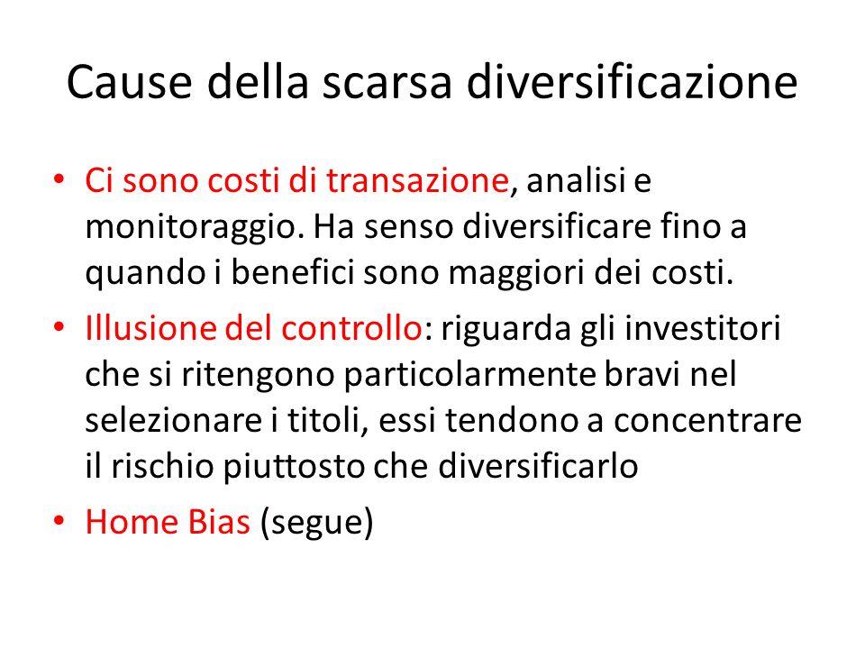 Cause della scarsa diversificazione Ci sono costi di transazione, analisi e monitoraggio. Ha senso diversificare fino a quando i benefici sono maggior