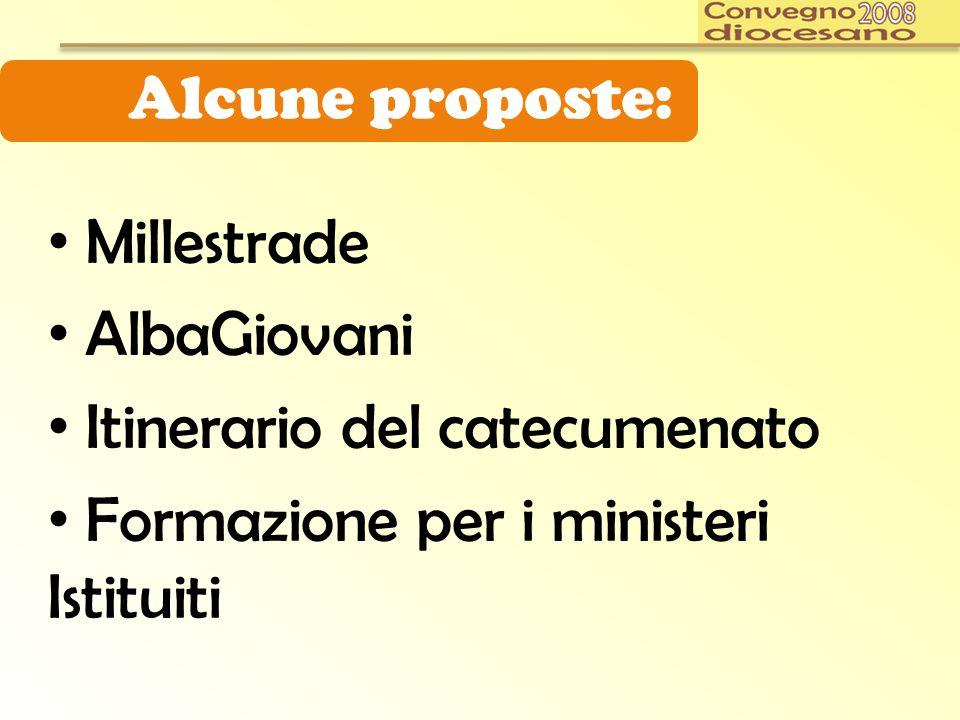Alcune proposte: Millestrade AlbaGiovani Itinerario del catecumenato Formazione per i ministeri Istituiti