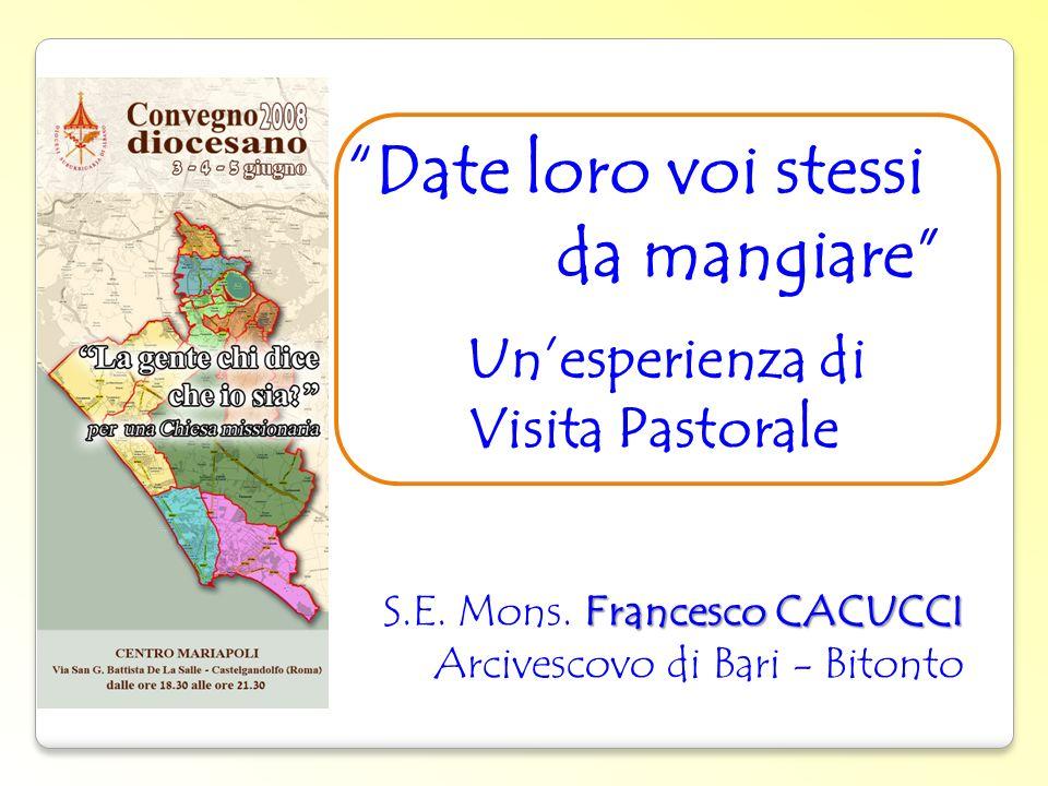 Date loro voi stessi da mangiare Unesperienza di Visita Pastorale. Francesco CACUCCI S.E. Mons. Francesco CACUCCI Arcivescovo di Bari - Bitonto