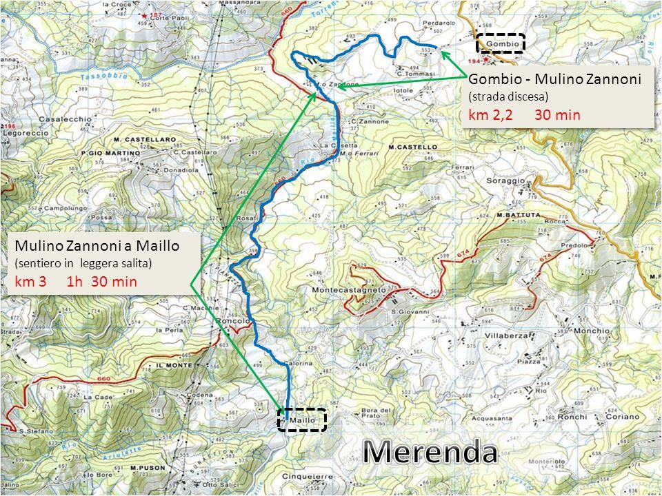 Gombio - Mulino Zannoni (strada discesa) km 2,2 30 min Gombio - Mulino Zannoni (strada discesa) km 2,2 30 min Mulino Zannoni a Maillo (sentiero in leg
