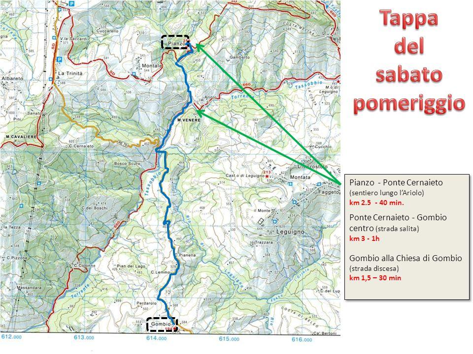 Pianzo - Ponte Cernaieto (sentiero lungo lAriolo) km 2.5 - 40 min. Ponte Cernaieto - Gombio centro (strada salita) km 3 - 1h Gombio alla Chiesa di Gom