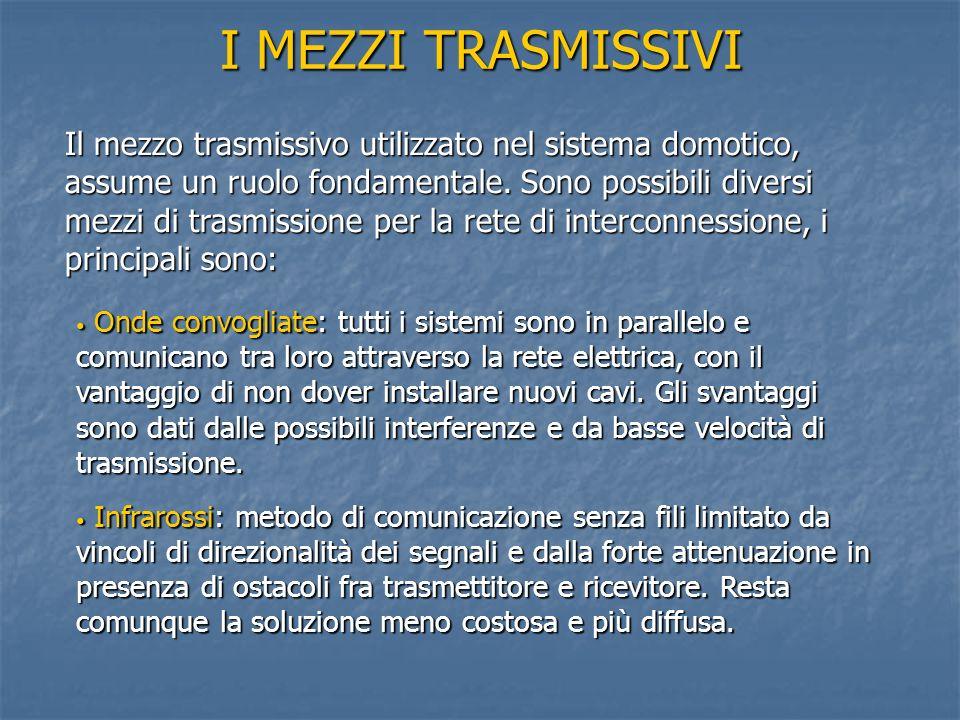I MEZZI TRASMISSIVI Il mezzo trasmissivo utilizzato nel sistema domotico, assume un ruolo fondamentale. Sono possibili diversi mezzi di trasmissione p