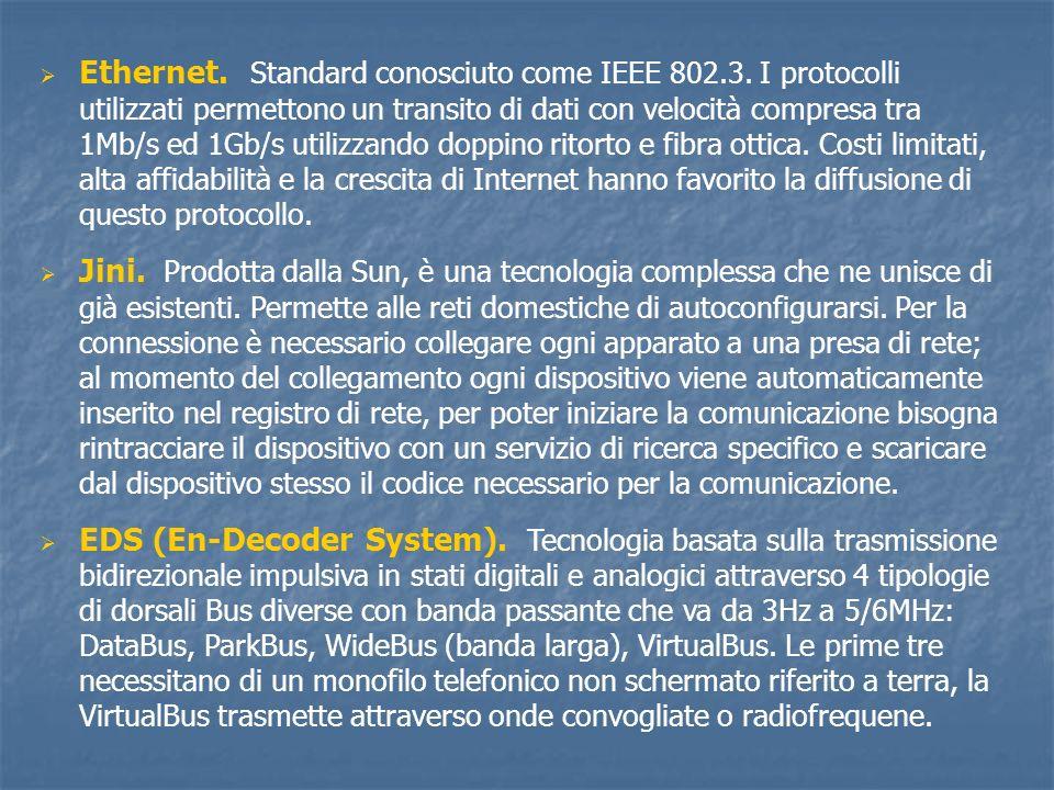 Ethernet. Standard conosciuto come IEEE 802.3. I protocolli utilizzati permettono un transito di dati con velocità compresa tra 1Mb/s ed 1Gb/s utilizz