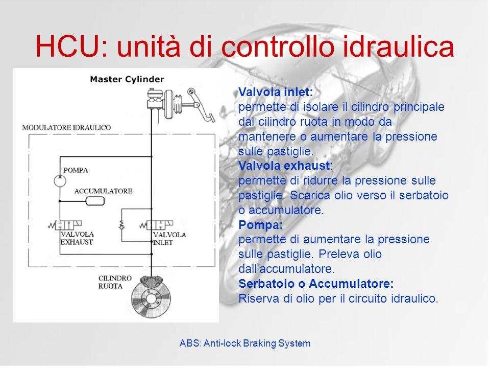 ABS: Anti-lock Braking System HCU: unità di controllo idraulica Valvola inlet: permette di isolare il cilindro principale dal cilindro ruota in modo d