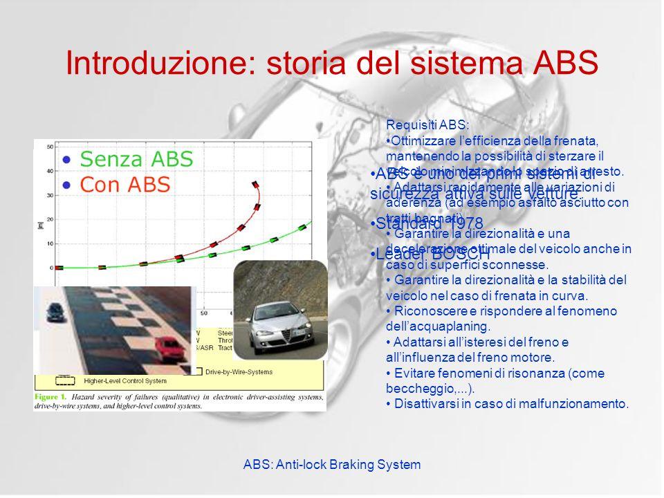 ABS: Anti-lock Braking System Introduzione: storia del sistema ABS ABS è uno dei primi sistemi di sicurezza attiva sulle vetture. Standard 1978 Leader