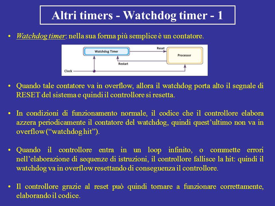 Watchdog timer: nella sua forma più semplice è un contatore. Altri timers - Watchdog timer - 1 Quando tale contatore va in overflow, allora il watchdo