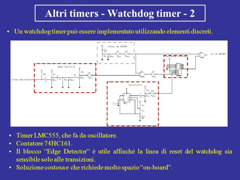 Altri timers - Watchdog timer - 2 Un watchdog timer può essere implementato utilizzando elementi discreti. Timer LMC555, che fa da oscillatore. Contat