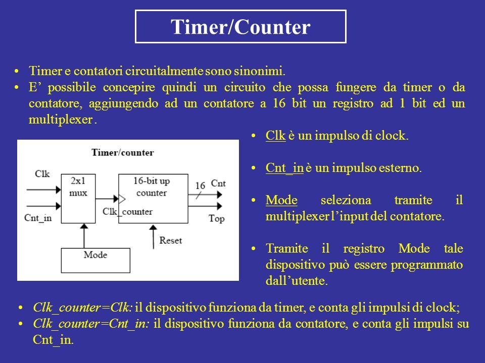 Timer/Counter Timer e contatori circuitalmente sono sinonimi. E possibile concepire quindi un circuito che possa fungere da timer o da contatore, aggi