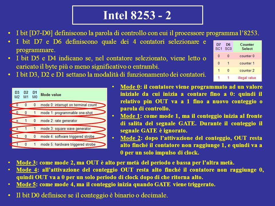 Intel 8253 - 2 I bit [D7-D0] definiscono la parola di controllo con cui il processore programma l8253. Mode 0: il contatore viene programmato ad un va