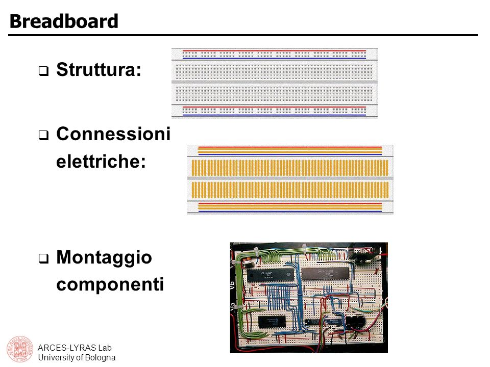 ARCES-LYRAS Lab University of Bologna Breadboard Struttura: Connessioni elettriche: Montaggio componenti