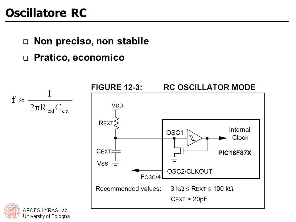 ARCES-LYRAS Lab University of Bologna Oscillatore RC Non preciso, non stabile Pratico, economico