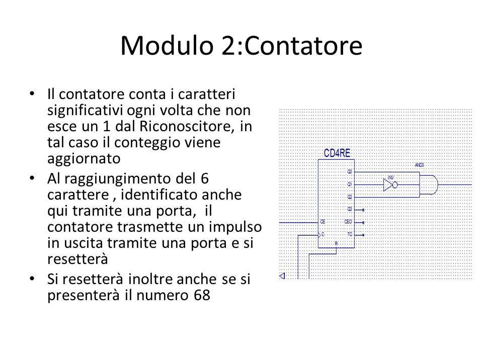 Modulo 2:Contatore Il contatore conta i caratteri significativi ogni volta che non esce un 1 dal Riconoscitore, in tal caso il conteggio viene aggiorn