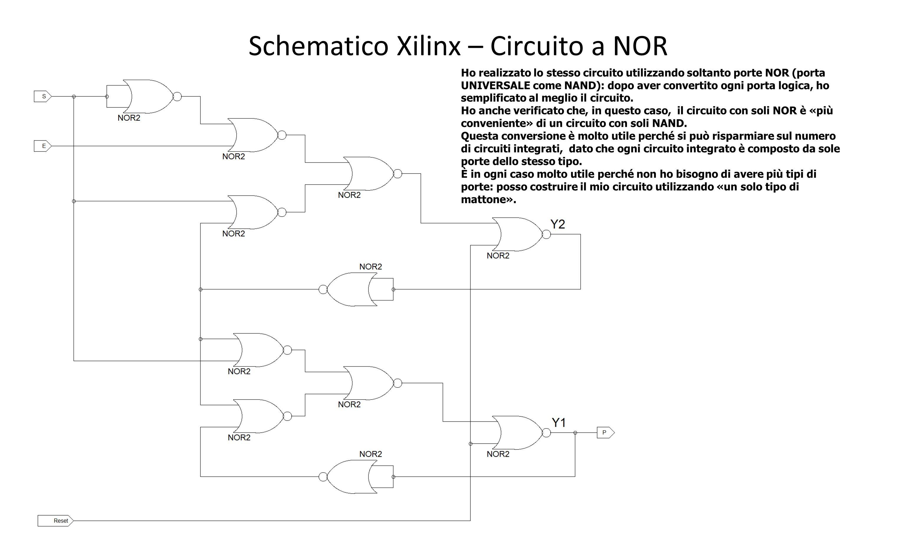 Schematico Xilinx – Circuito a NOR Ho realizzato lo stesso circuito utilizzando soltanto porte NOR (porta UNIVERSALE come NAND): dopo aver convertito