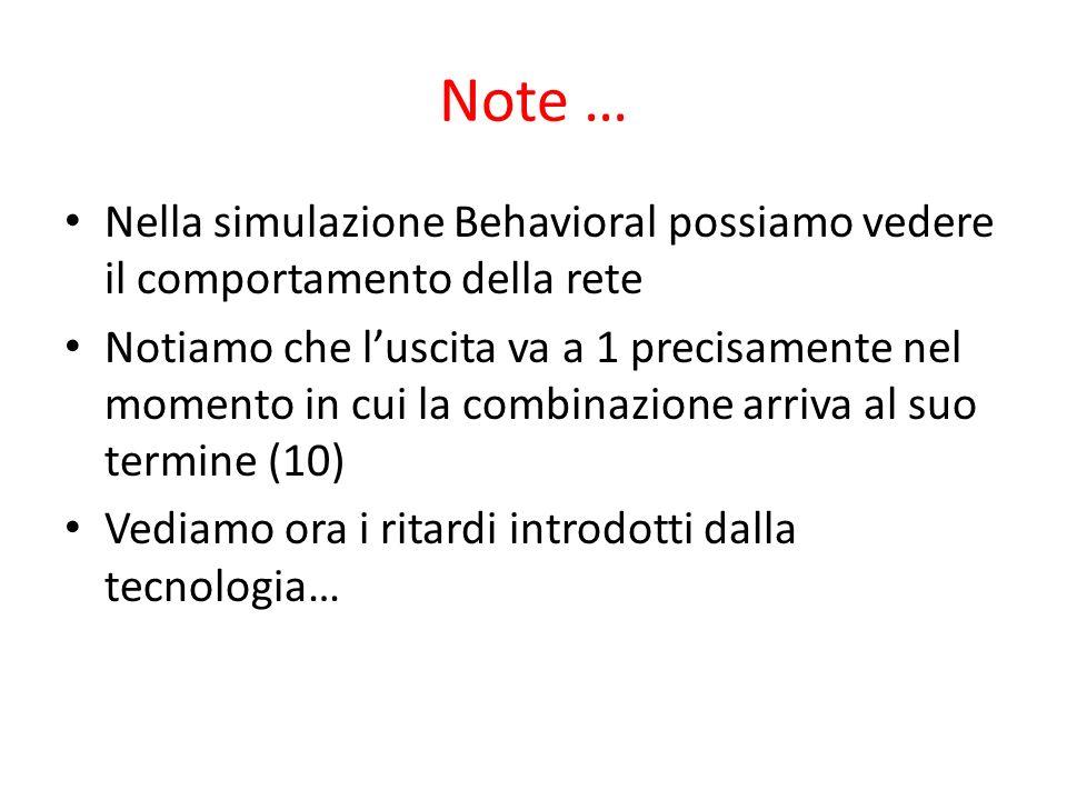 Note … Nella simulazione Behavioral possiamo vedere il comportamento della rete Notiamo che luscita va a 1 precisamente nel momento in cui la combinazione arriva al suo termine (10) Vediamo ora i ritardi introdotti dalla tecnologia…