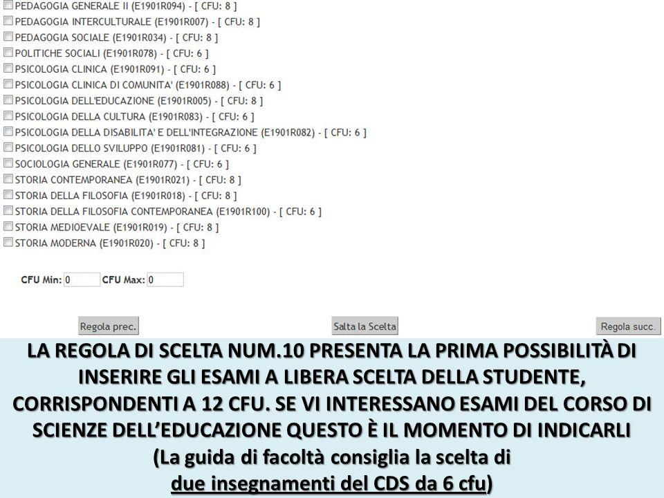 LA REGOLA DI SCELTA NUM.10 PRESENTA LA PRIMA POSSIBILITÀ DI INSERIRE GLI ESAMI A LIBERA SCELTA DELLA STUDENTE, CORRISPONDENTI A 12 CFU.