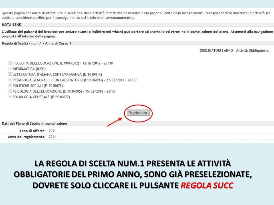 LA REGOLA DI SCELTA NUM.2 PRESENTA LA FILOSOFIA A SCELTA DEL PRIMO ANNO.