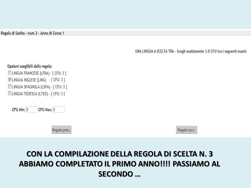 CON LA COMPILAZIONE DELLA REGOLA DI SCELTA N. 3 ABBIAMO COMPLETATO IL PRIMO ANNO!!!.