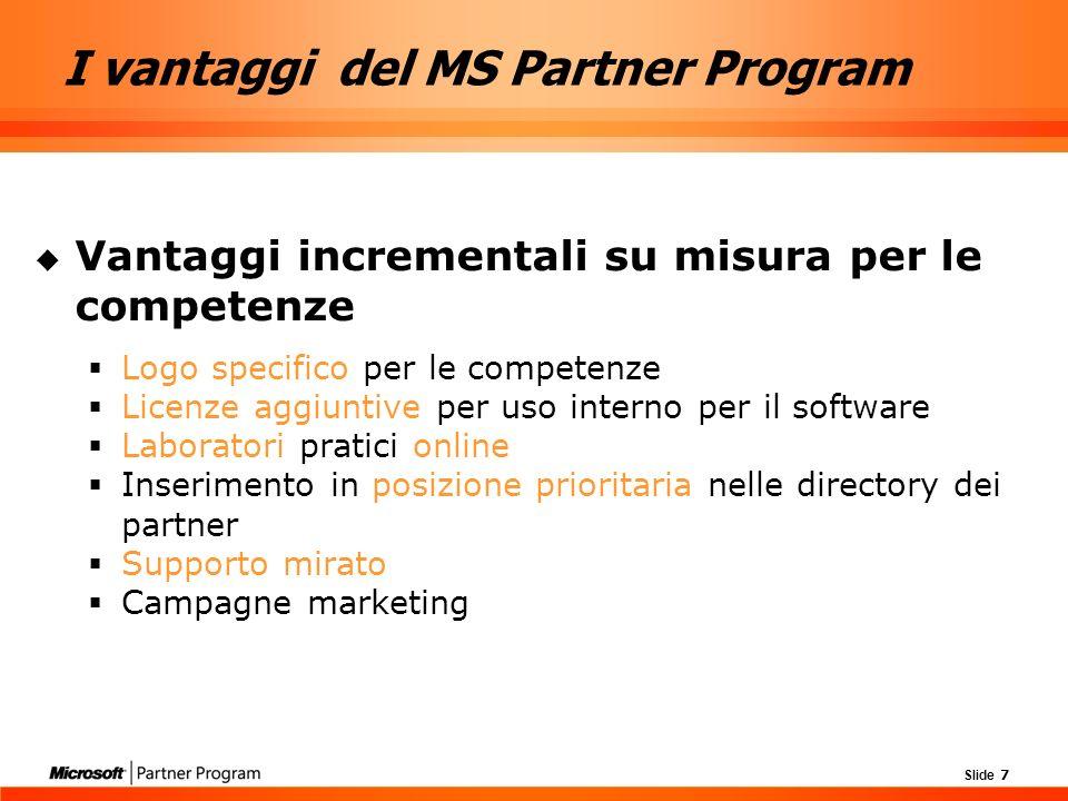 Slide 18 Competenza Information Worker Enterprise Project Management: pensata espressamente per i partner specializzati nello sviluppo di soluzioni Enterprise Project Management basate su Microsoft Office Project Professional 2003.