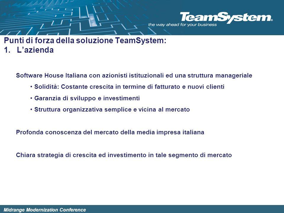 Midrange Modernization Conference Software House Italiana con azionisti istituzionali ed una struttura manageriale Solidità: Costante crescita in term