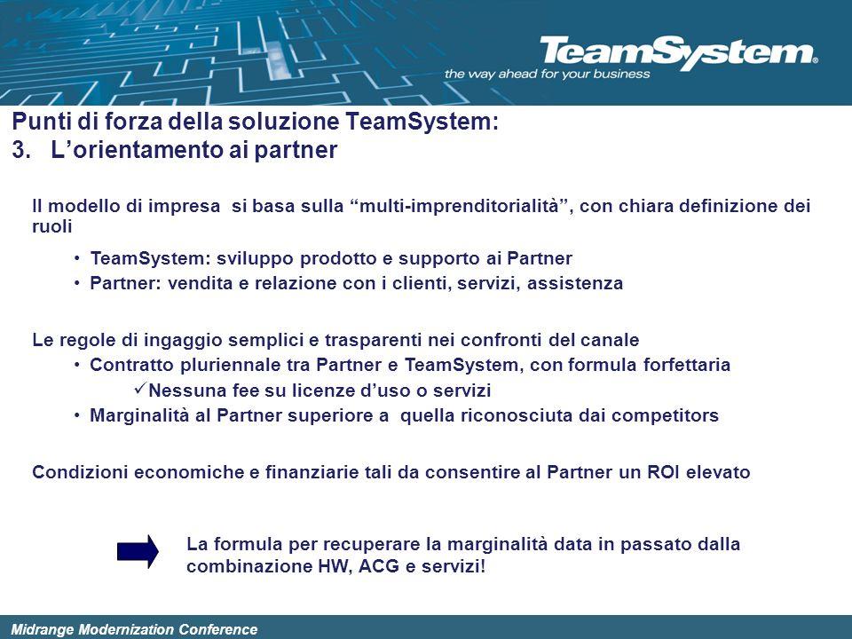 Midrange Modernization Conference Il modello di impresa si basa sulla multi-imprenditorialità, con chiara definizione dei ruoli TeamSystem: sviluppo p