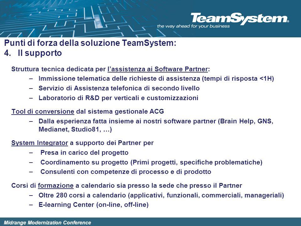 Midrange Modernization Conference Struttura tecnica dedicata per lassistenza ai Software Partner: –Immissione telematica delle richieste di assistenza