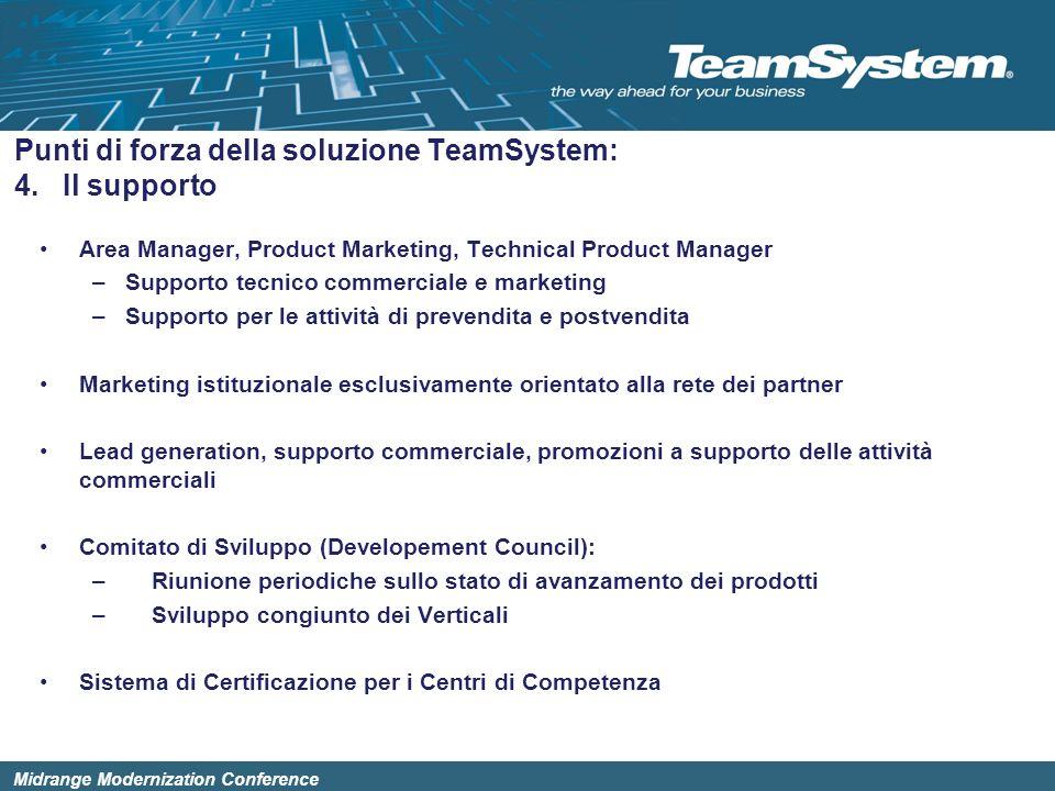 Midrange Modernization Conference Area Manager, Product Marketing, Technical Product Manager –Supporto tecnico commerciale e marketing –Supporto per l