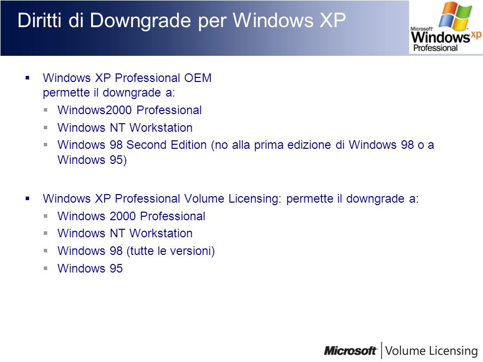 Diritti di Downgrade per Windows XP Windows XP Professional OEM permette il downgrade a: Windows2000 Professional Windows NT Workstation Windows 98 Second Edition (no alla prima edizione di Windows 98 o a Windows 95) Windows XP Professional Volume Licensing: permette il downgrade a: Windows 2000 Professional Windows NT Workstation Windows 98 (tutte le versioni) Windows 95