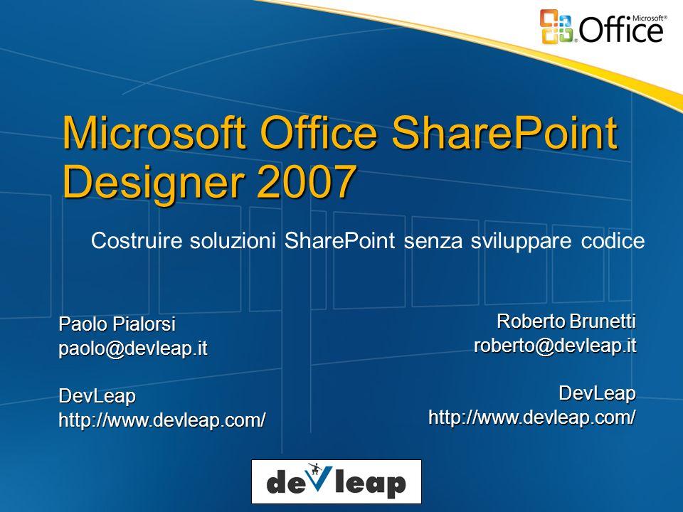SharePoint Designer Non sosituisce VS 2005 Orientato al disegno non al codice Ottimo Editor per pagine ASPX E per applicazioni ASP.NET 2.0 Ad esempio Site Navigation visuale utilizzando dietro le quinte