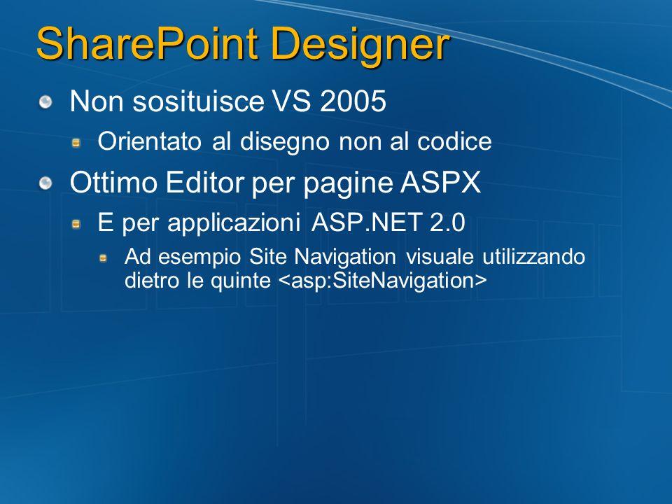 SharePoint Designer Non sosituisce VS 2005 Orientato al disegno non al codice Ottimo Editor per pagine ASPX E per applicazioni ASP.NET 2.0 Ad esempio