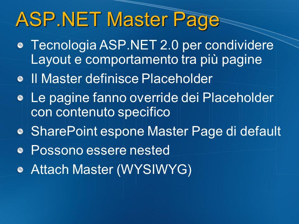 ASP.NET Master Page Tecnologia ASP.NET 2.0 per condividere Layout e comportamento tra più pagine Il Master definisce Placeholder Le pagine fanno overr