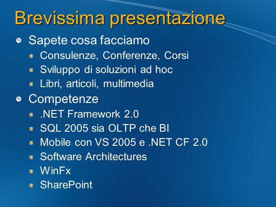 Brevissima presentazione Sapete cosa facciamo Consulenze, Conferenze, Corsi Sviluppo di soluzioni ad hoc Libri, articoli, multimedia Competenze.NET Fr