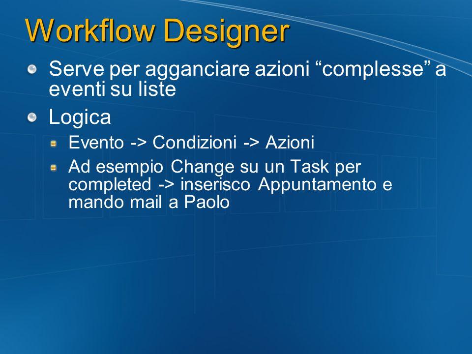 Workflow Designer Serve per agganciare azioni complesse a eventi su liste Logica Evento -> Condizioni -> Azioni Ad esempio Change su un Task per compl