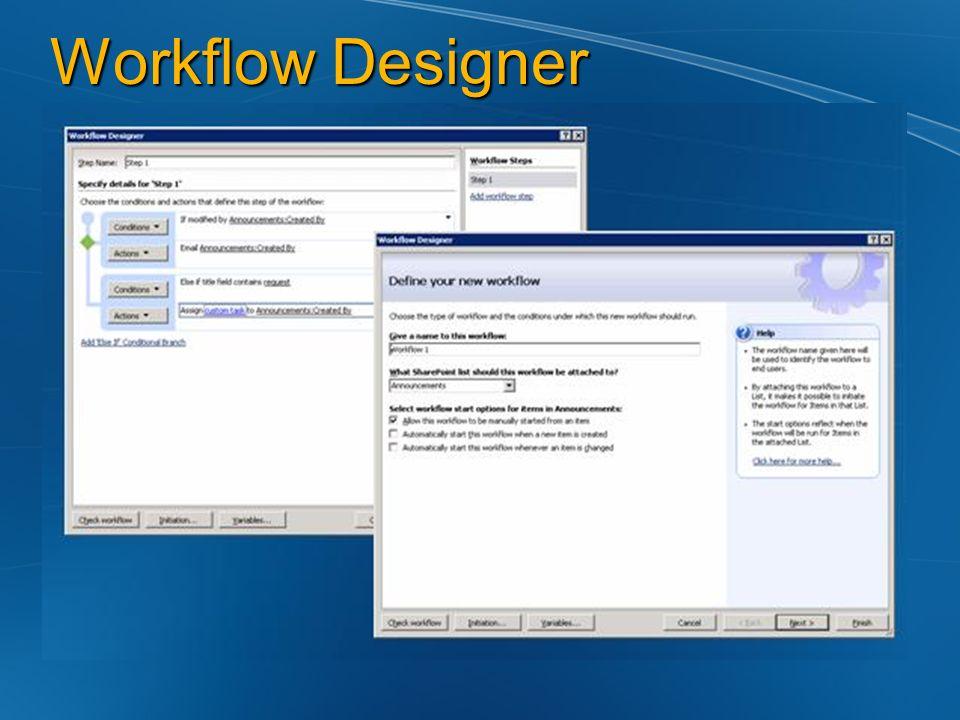 Workflow Designer Serve per agganciare azioni complesse a eventi su liste Ad esempio Change su un Task per completed -> inserisco Appuntamento e mando