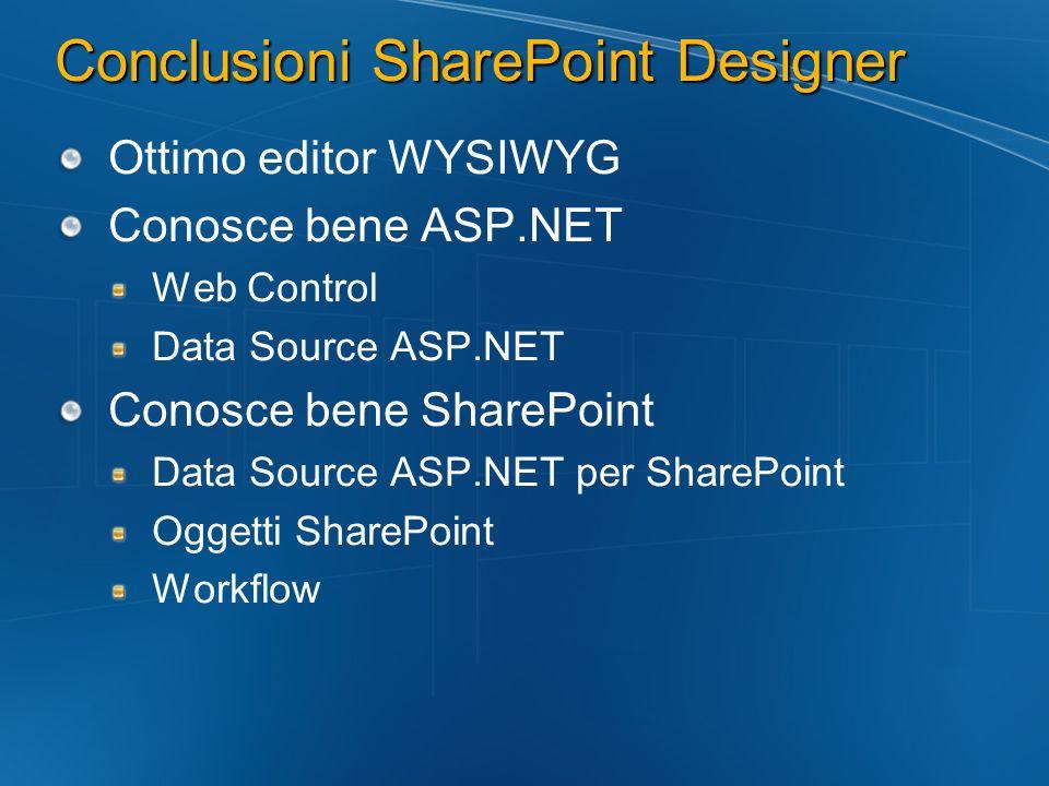 Conclusioni SharePoint Designer Ottimo editor WYSIWYG Conosce bene ASP.NET Web Control Data Source ASP.NET Conosce bene SharePoint Data Source ASP.NET