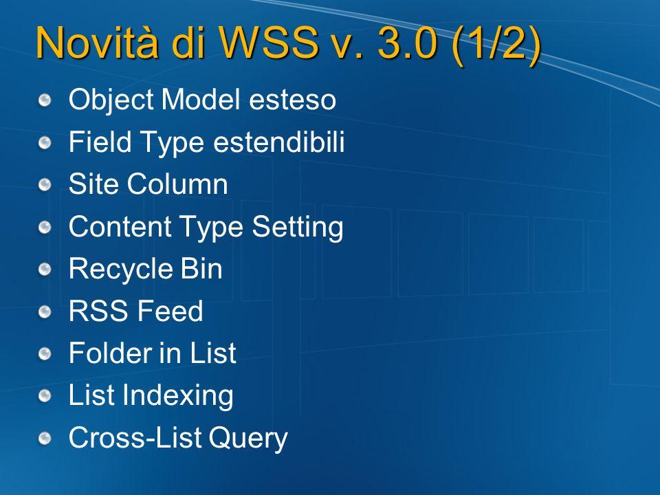 Novità di WSS v.