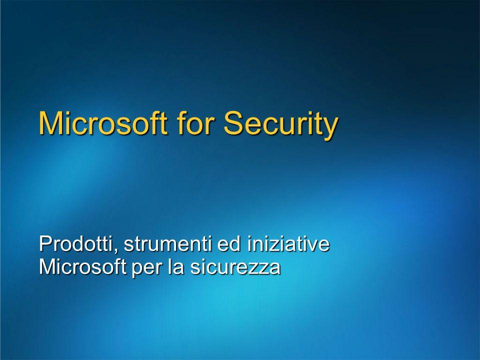 Microsoft for Security Prodotti, strumenti ed iniziative Microsoft per la sicurezza
