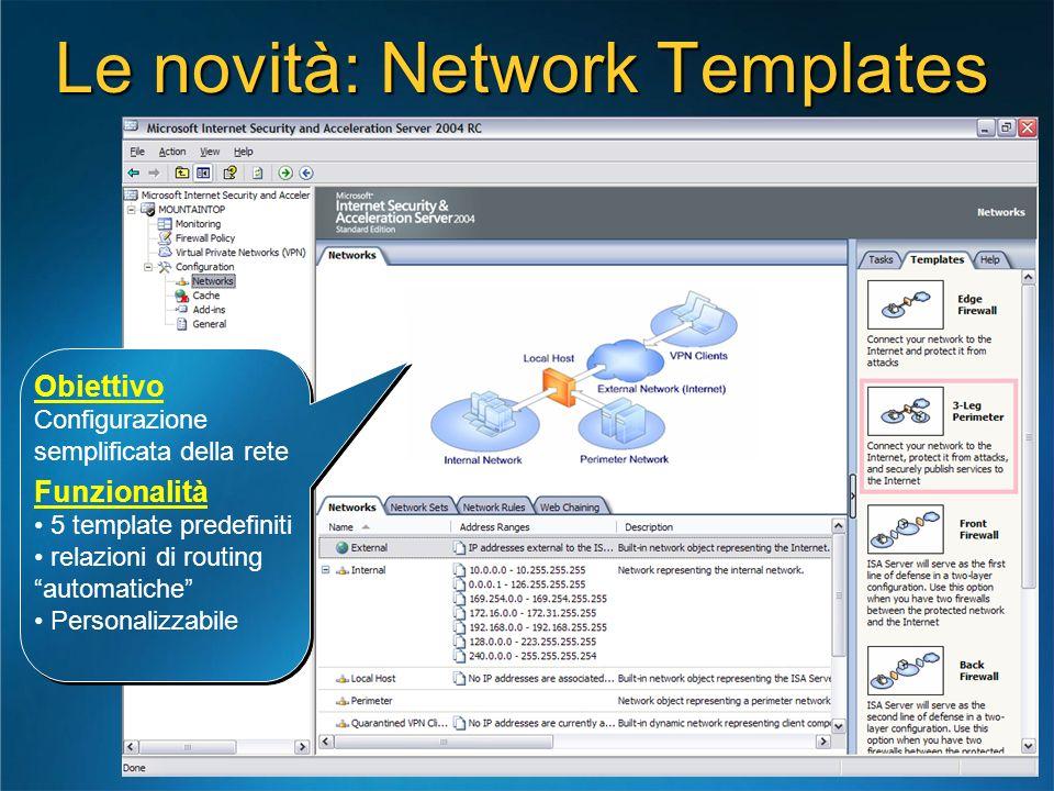 Le novità: Network Templates Obiettivo Configurazione semplificata della rete Funzionalità 5 template predefiniti relazioni di routing automatiche Per