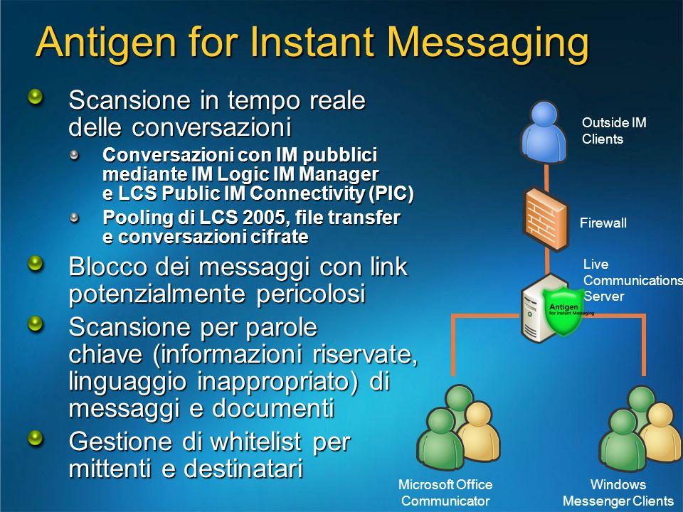 Antigen for Instant Messaging Scansione in tempo reale delle conversazioni Conversazioni con IM pubblici mediante IM Logic IM Manager e LCS Public IM