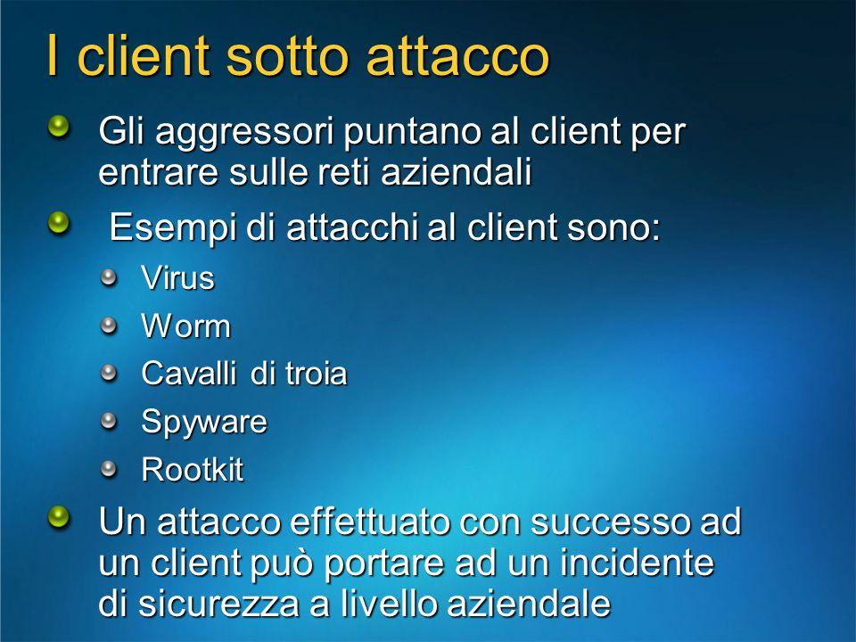 I client sotto attacco Gli aggressori puntano al client per entrare sulle reti aziendali Esempi di attacchi al client sono: Esempi di attacchi al clie